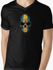 Barbados Flag Skull Mens V-Neck T-Shirt