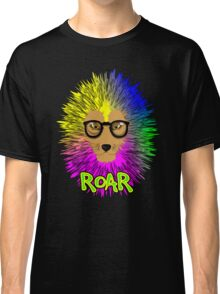 Funky Psychedelic Rainbow Bespectacled Lion ROAR Classic T-Shirt