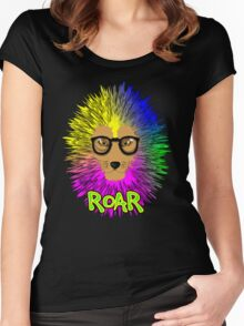 Funky Psychedelic Rainbow Bespectacled Lion ROAR Women's Fitted Scoop T-Shirt