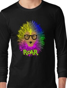 Funky Psychedelic Rainbow Bespectacled Lion ROAR Long Sleeve T-Shirt