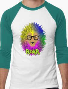 Funky Psychedelic Rainbow Bespectacled Lion ROAR Men's Baseball ¾ T-Shirt