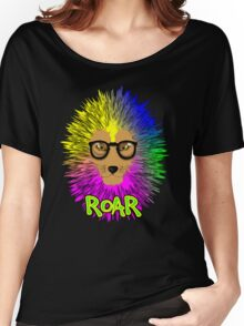 Funky Psychedelic Rainbow Bespectacled Lion ROAR Women's Relaxed Fit T-Shirt