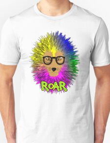 Funky Psychedelic Rainbow Bespectacled Lion ROAR T-Shirt