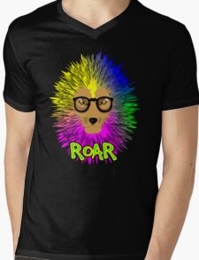 Funky Psychedelic Rainbow Bespectacled Lion ROAR Mens V-Neck T-Shirt