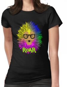 Funky Psychedelic Rainbow Bespectacled Lion ROAR Womens Fitted T-Shirt