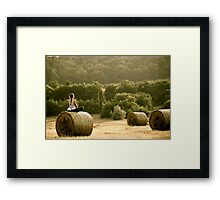 Presence of Mind - Hay Bale Relaxation in Hungary Framed Print