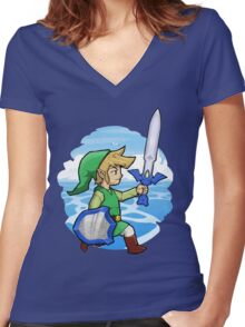 Link, The Hero of Winds || Wind Waker Women's Fitted V-Neck T-Shirt
