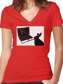 Hack Rabbit Women's Fitted V-Neck T-Shirt