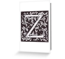 "Art Nouveau ""Z"" (William Morris Inspired) Greeting Card"