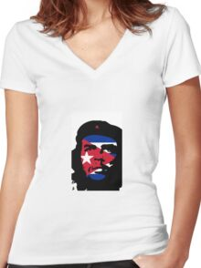 Che Eyes Cuba Women's Fitted V-Neck T-Shirt