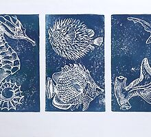 Fish - lino print by Clare Brooks