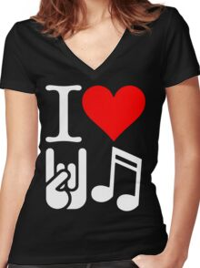 I Love Rock N Roll  Women's Fitted V-Neck T-Shirt