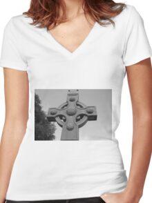 Celtic Cross Gartan Donegal Ireland Women's Fitted V-Neck T-Shirt