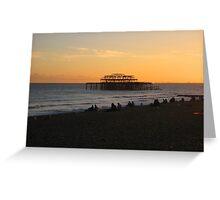 Sunset on Brighton beach Greeting Card