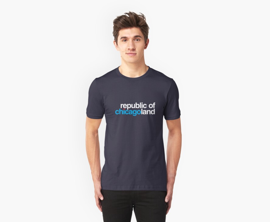 republic of chicagoland (dark blue or black) by Chicago Tee