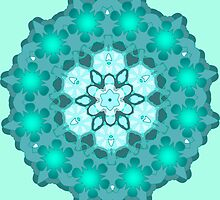 teal and ice blue mandala by resonanteye