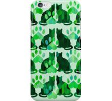 Green Cats and Paws iPhone Case/Skin