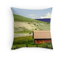 a barn in the hills Throw Pillow