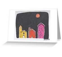 sunset houses Greeting Card