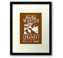 Wanted Bounty Franky - White on Black Framed Print
