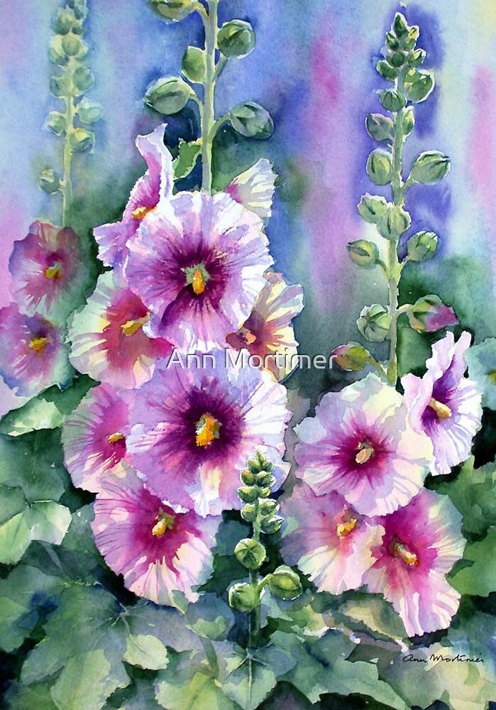 Hollyhocks by Ann Mortimer