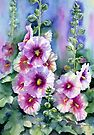 Hollyhocks by Ann Mortimer