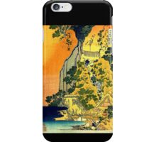 'Waterfalls in All Provinces' by Katsushika Hokusai (Reproduction) iPhone Case/Skin