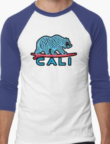 Cali Bear (Light Blue With Black Border) Men's Baseball ¾ T-Shirt