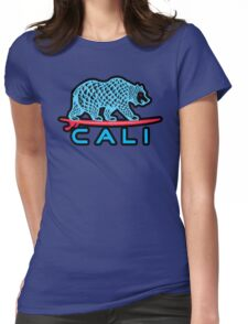 Cali Bear (Light Blue With Black Border) Womens Fitted T-Shirt