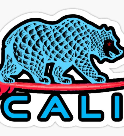 Cali Bear (Light Blue With Black Border) Sticker