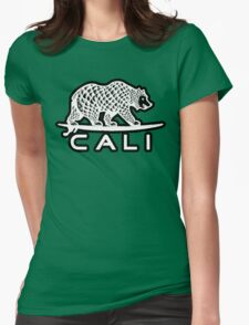 Cali Bear White with Black Womens Fitted T-Shirt