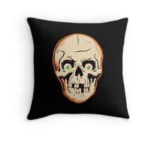 Creepy Halloween Skull with Eyeballs Throw Pillow