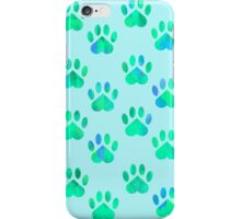 Turquoise Paw Pattern iPhone Case/Skin