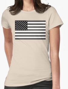 American Flag Black And White Womens Fitted T-Shirt