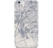 Inky Map Vintage Graphic Blue on White iPhone Case/Skin