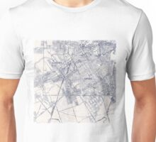 Inky Map Vintage Graphic Blue on White Unisex T-Shirt