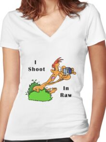 I Shoot In Raw Women's Fitted V-Neck T-Shirt