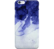 Inky Spill Deep Blue Ink on Washed White iPhone Case/Skin