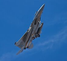 An F-15 Strike Eagle banking by Henry Plumley