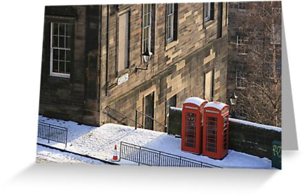 Edinburgh Phone Boxes from The Castle by Sarah  Edmondson