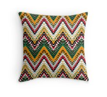 Chevron pattern with green dotted line Throw Pillow