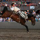 Rodeo State Finals Bareback Riding by Carl M. Moore