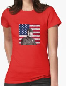 Eddie Rickenbacker And The American Flag Womens Fitted T-Shirt