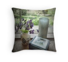 Violets on the Windowsill Throw Pillow