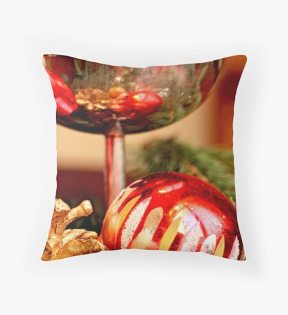 Red candle and Christmas ornaments B Throw Pillow