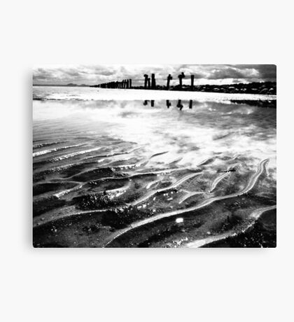 Lines in the sand (beach near geelong) Canvas Print