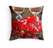 Two fluted wineglasses  stand amongst yew with two crimson  hearts  B Throw Pillow