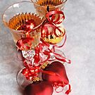 Two fluted wineglasses   with two crimson  hearts  A by pogomcl