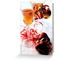 Two wineglasses with two hearts on white damask C Greeting Card