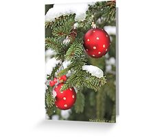 Red Christmas balls on snowy fir Greeting Card